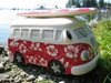VW Bus Spardose Keramik im Flower-Design / Blumenmuster / Hawaii
