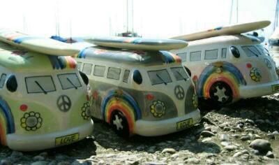 vw bus spardose keramik im love peace design hippie. Black Bedroom Furniture Sets. Home Design Ideas