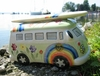 VW Bus Spardose Keramik im Love & Peace Design / Hippie-Design